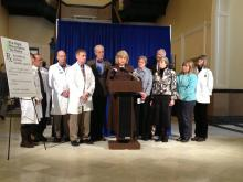 Left to right:  Lani Graham, MD, MPH, Steve Diaz, MD, FACEP, Joel Kase, DO, Immediate Past President, Maine Osteopathic Association, Dieter Kreckel, MD, President, Maine Medical Association, Sen. Geoffrey Gratwick, MD, Rep. Linda Sanborn, MD, Rep. Jane Pringle, MD, Kenneth Christian, MD, Rep. Ann Dorney, MD, Rep. Anne Graham, PNP, and Kirsten Thomsen, PA.