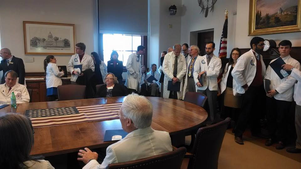 Physicians waiting for the Governor to arrive.
