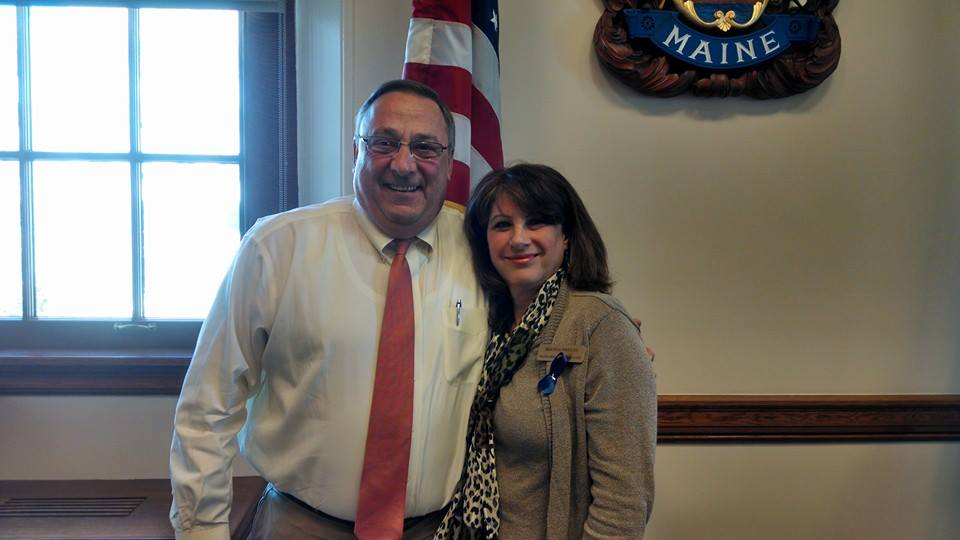 Governor LePage with MMA staff Dianna Poulin.