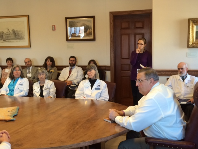 Governor LePage listens to the doctors' concerns.